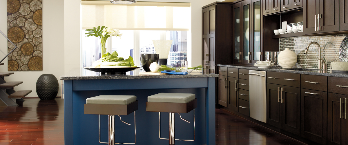 Omega Metropolitan Blue Brown Kitchen